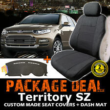 FORD TERRITORY SZ 7 SEATER 3 ROW SEAT COVERS + DASH MAT TS TX 05/2011-2015 CHARC