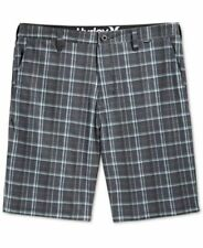 Hurley Mens Phantom Slim Fit Davis Flat-Front Plaid Shorts Black Mens Size 32