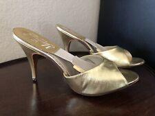 Vintage 50s Martinez Gold Lame Peep Toe Heels Mule Spring-o-lator Pin Up