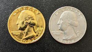 1982 P US Gold Plated Washington Quarter
