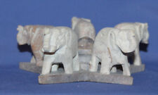 Vintage Hand Carved Stone Elephants Statuette
