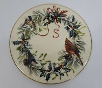 "Lenox Winter Greeting 8"" Salad Plate Made in USA 1995 Cardinal Red Bow"
