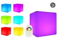 LED Design Cube 60 / LED Leucht Sitzwürfel / In und Outdoor / Akku und RF Funk