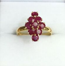 14k Solid Yellow Gold Cute Diamond Shape Ring Natural Round Ruby 1.7TCW, Sz8.25