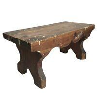 "Wood Stool Bench Cricket 14.5"" Rustic Step Farmhouse Vtg Primitive Needs Repair"