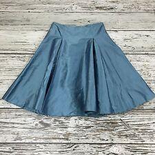 PHASE EIGHT Metallic Blue Skirt Silk Full Flare Midi Occasion Size UK 14 13047