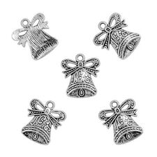 Antique Plaqué Argent Bell Charms Pendants 17x19mm Pack de 5 (N60/1)