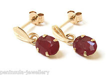 9ct Gold Ruby drop Earrings Gift Boxed Made in UK