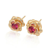 Delicate Flower Shape 18K yellow Gold Plated Colorful CZ Stud Ear