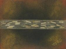 ACEO DRIED MARIGOLD FLOWER SEEDS ABSTRACT FOLK ART PRIMITIVE PASTEL ORIGINAL ART
