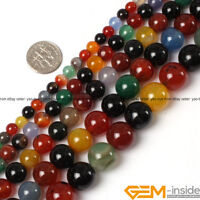 """Natural Multi-Color Agate Gemstone Round Loose Beads For Jewelry Making 15"""" YB"""