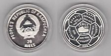 1989 Cambodia Large Silver  Proof 20 riels World Cup Soccer