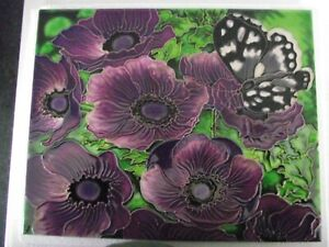 Large Hand crafted Ceramic art tile of Butterfly on anemone flowers 35/28 cm