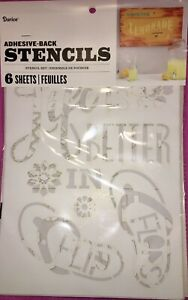 Darice Adhesive-Back Stencils Set 6 Sheets Large 11x17 Summer Themed☀️NEW SEALED