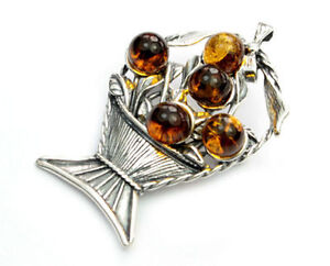 925 Sterling Silver & Baltic Amber Jewellery - 4019 - Designer Brooch