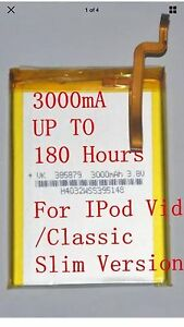 High Capacity 3000mAh Upgraded SSD Battery for iPod 5,6 7 Gen Classic 30gb - 1Tb