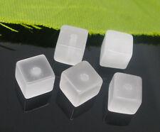 50 Perles Verre oeil de Chat Blanc Carré 6mm