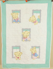 NICELY QUILTED Vintage 30's Teddy Bear Applique Antique Crib Quilt!