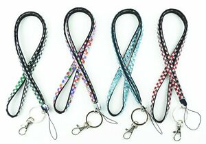 Handcrafted Rhinestone Bling Necklace Lanyard key chain, Multi color