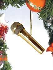 """Realistic Gold MICROPHONE Christmas Ornament, 4"""" Tall, by Broadway Gifts"""