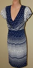 Womens Gorgeous Blue and White Spot Dress - Leona by Leona Edmiston - Size 10