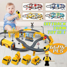 66PCS Electric Train Track Set Fire Rescue/Police/Engineering/City Kids Toy Gift