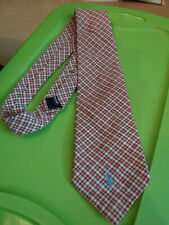 Polo Ralph Lauren Mens Necktie Tie Burgundy/Beige/Lt Blue Plaid
