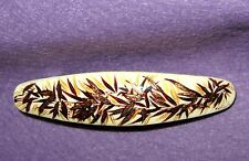 Russian HAND PAINTED Golden Bamboo Cream Lacquer papier mache Barrette Hair Clip