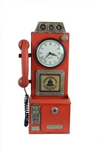 Metal Red Vintage Phone Booth Home Art Decor Table/Wall Mail Box Clock Keyholder