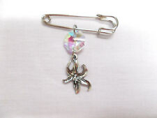 SAFETY PIN  w IRIDESCENT CRYSTAL & ORCHID BLOOM DOUBLE DANGLE CHARM BROOCH PIN