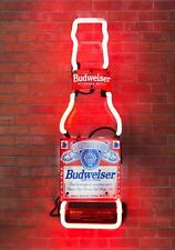 "BUDWEISER BUD LIGHT BOTTLE WALL BEER BAR CLUB IPHONE ATV NEON LIGHT SIGN 14""X5"""