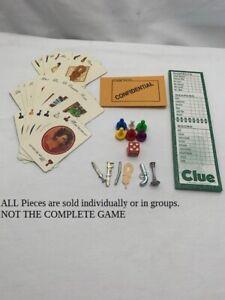 U-PICk 1996 1998 Clue Board Game parts pieces