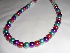 Handmade Ladies Jewellery Red, White, Blue Glass Pearl Gift Necklace - 17 in