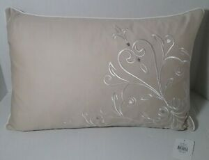 LENOX Opal Scroll Embroidered Oblong Toss Pillow Tan White Silver  Feather Fill