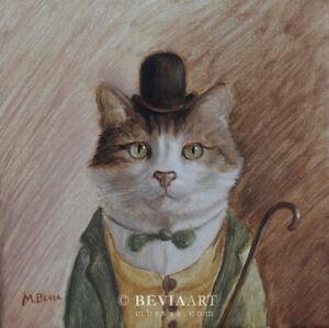 Original Cat Oil Painting with Bowler Hat Animal Kitty Pet Portrait Art M.Bevia