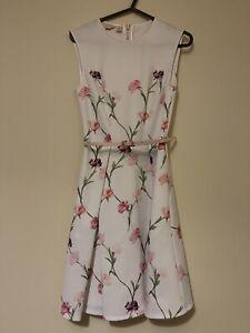 Ted baker Dress Size 1 White Floral Skater