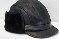 Real Sheepskin Shearling Leather Aviator Captain Hunting Elmer Fudd Hat M-3XL