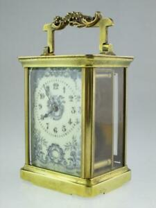 Antique French 19th Century Brass Mantel Carriage R&C Paris Clock Circa 1890