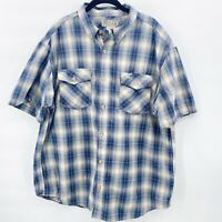 Duluth Trading Co Short Sleeve Button Down Blue Plaid Shirt Mens XL
