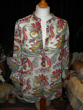 ❤ INTUITION ~ Ladies Womens-Size 12-White & Geometric Pattern-Semi Sheer Blouse
