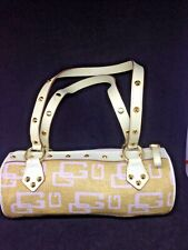 GUESS Straw Woven White Trim Gold Studded Small Cylinder Handbag Purse Bag