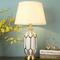 Large Ceramic Table Light Brass Base Desk Lamp Bedside Office Reading Lighting