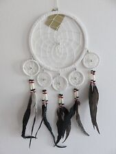 Handmade White Suede 16.5cm Web Dream Catcher with Long Black Feathers