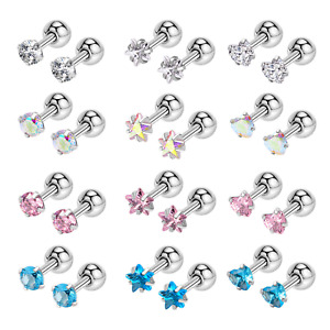 Fashion CZ Heart Earrings Stud Crystal Zircon Party Women Gift 3mm 4mm 5mm