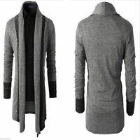 Men's Open Front Long Sleeve Sweaters Cardigan Knitted Hip Slim Jackets Coat Top