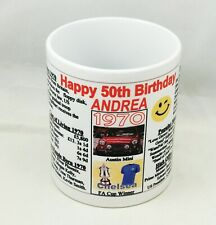 SPECIAL 50th BIRTHDAY MUG 1970 - THE YEAR YOU WERE BORN - ADD ANY NAME
