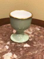 OAC Okura Art China Egg Cup Stand Pale Green & Gold Encrusted~Bone China~EUC~