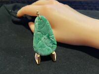 Vintage HUGE HAND CARVED GREEN JADE PENDANT WITH GOLD HARDWARE