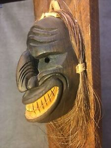 Iroquois Wood Wooden False Face mask Hand Carved With Horse Hair