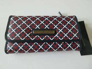 Tommy Hilfiger Women's Checkbook Wallet Red/White/Blue Print With Tommy Logo NWT